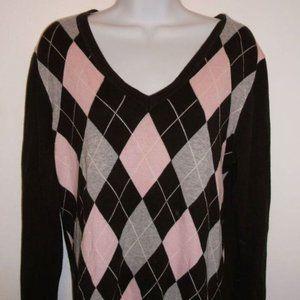 Tommy Hlfiger Brown Argyle Sweater Large